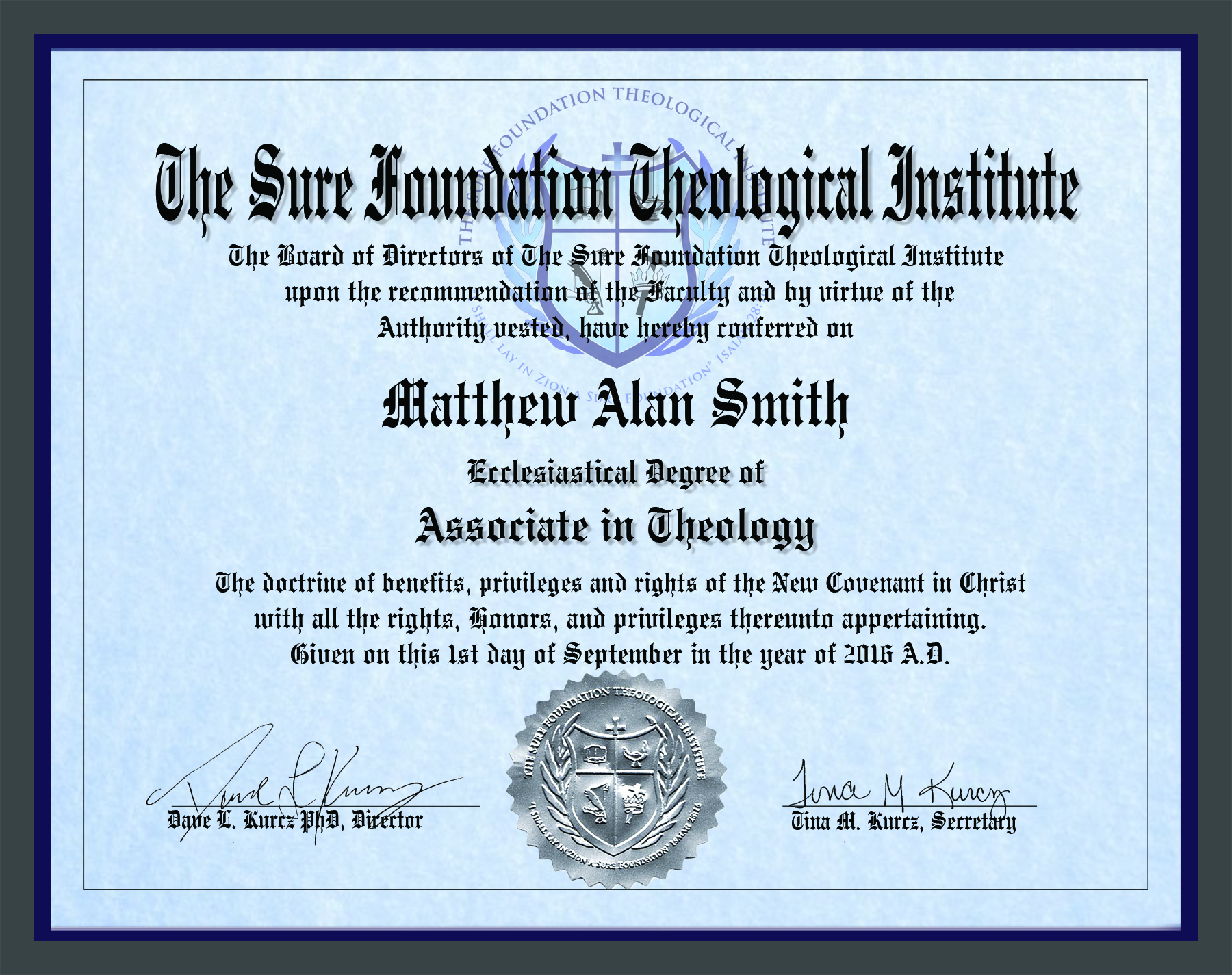 Associate Degree in Theology